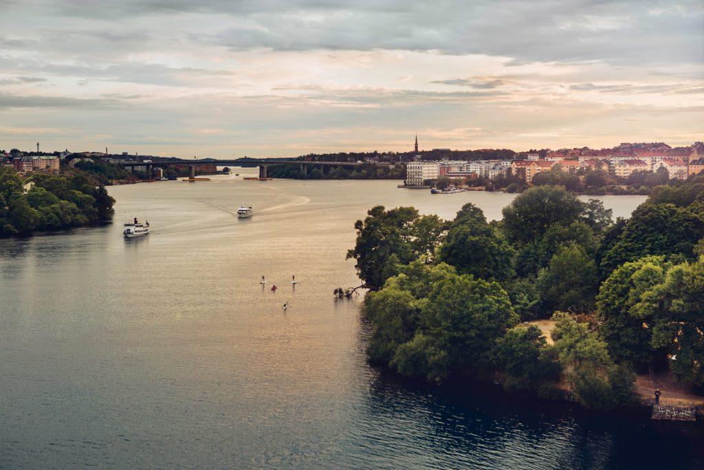 A tranquil view over Stockholm by the water in sunset